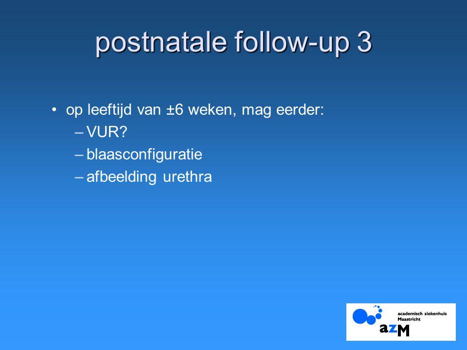 postnatale follow-up 3 op leeftijd van ±6 weken, mag eerder: VUR