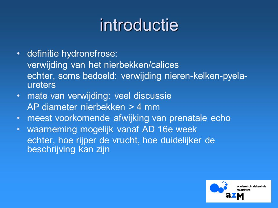 introductie definitie hydronefrose: