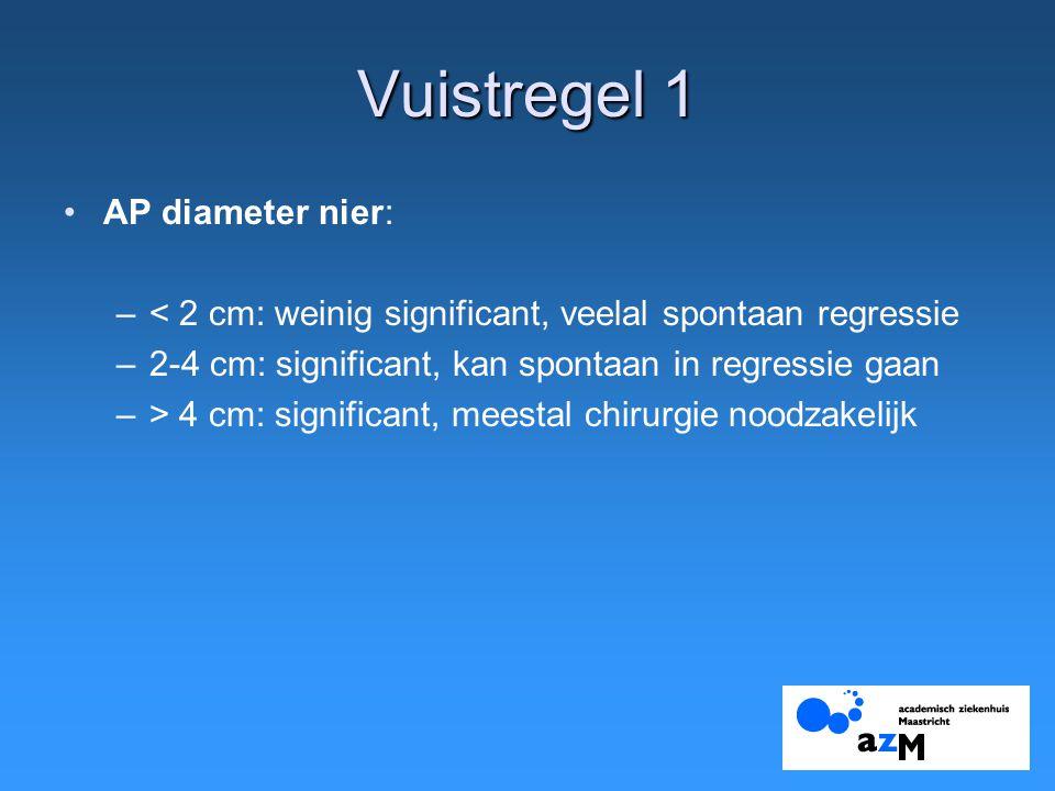 Vuistregel 1 AP diameter nier: