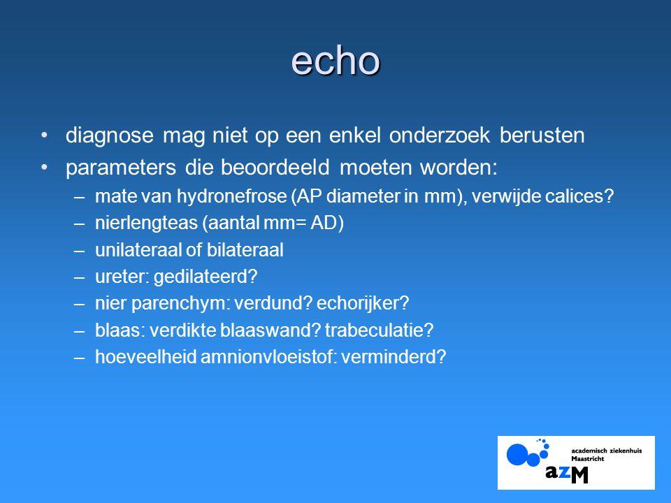 echo diagnose mag niet op een enkel onderzoek berusten