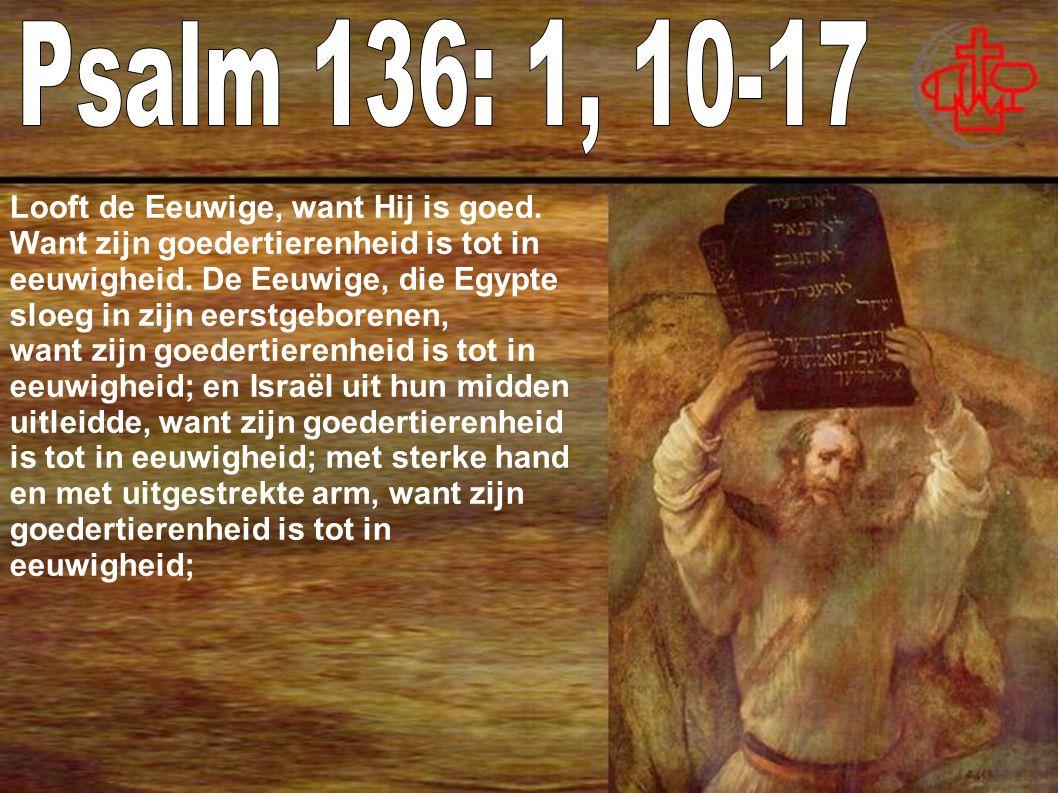 Psalm 136: 1, 10-17 Looft de Eeuwige, want Hij is goed.