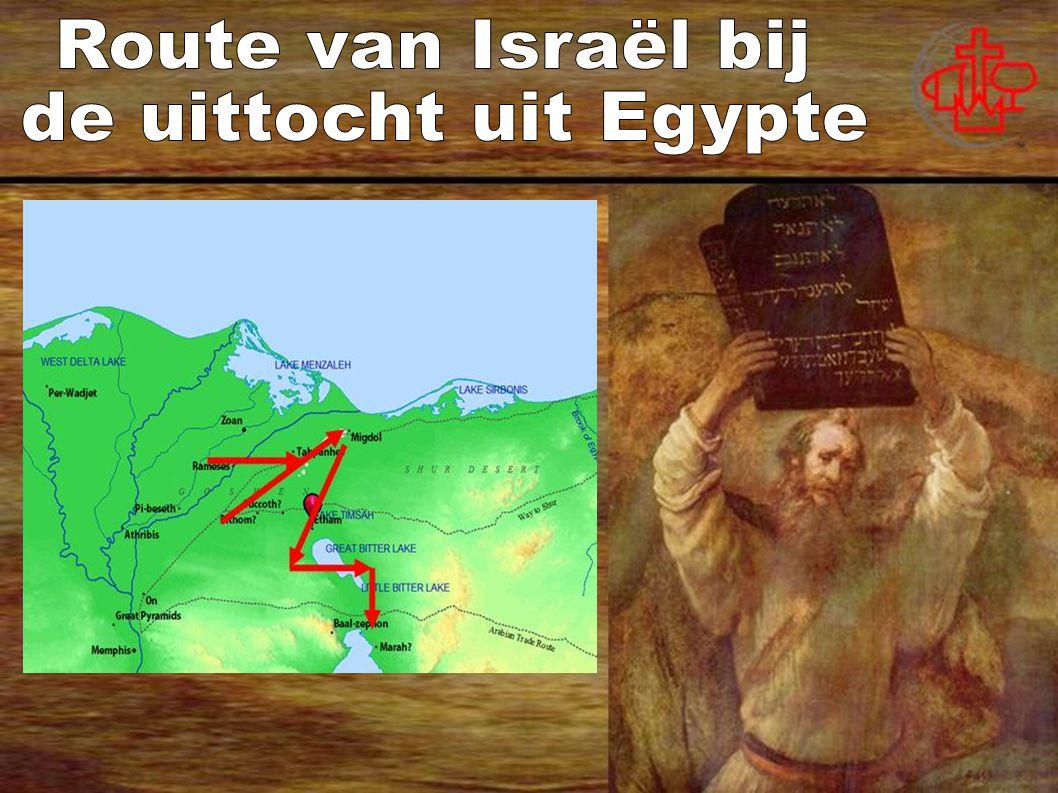 Route van Israël bij de uittocht uit Egypte