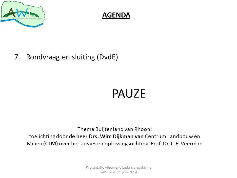 PAUZE AGENDA Rondvraag en sluiting (DvdE) Thema Buijtenland van Rhoon: