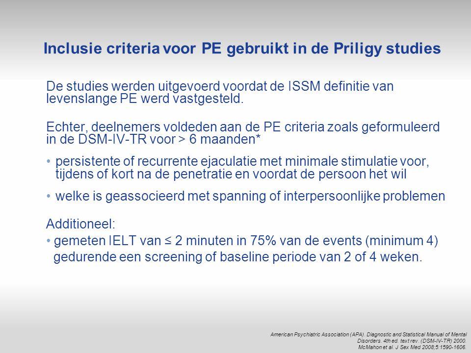 Inclusie criteria voor PE gebruikt in de Priligy studies