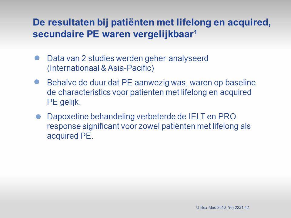 De resultaten bij patiënten met lifelong en acquired, secundaire PE waren vergelijkbaar1