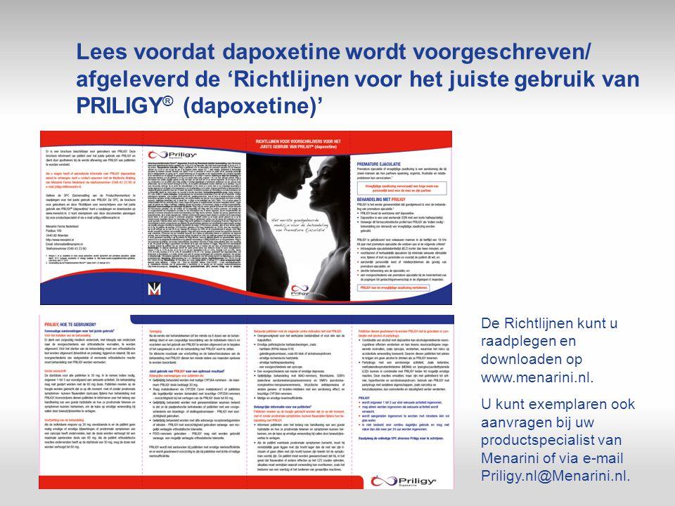 Lees voordat dapoxetine wordt voorgeschreven/ afgeleverd de 'Richtlijnen voor het juiste gebruik van PRILIGY® (dapoxetine)'