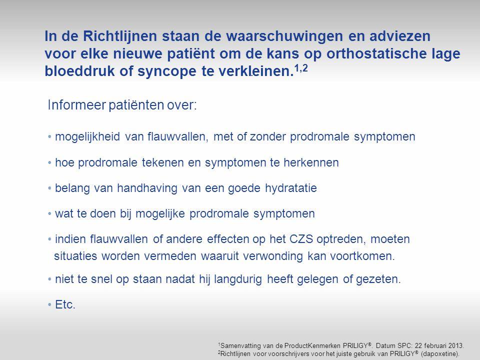 In de Richtlijnen staan de waarschuwingen en adviezen voor elke nieuwe patiënt om de kans op orthostatische lage bloeddruk of syncope te verkleinen.1,2