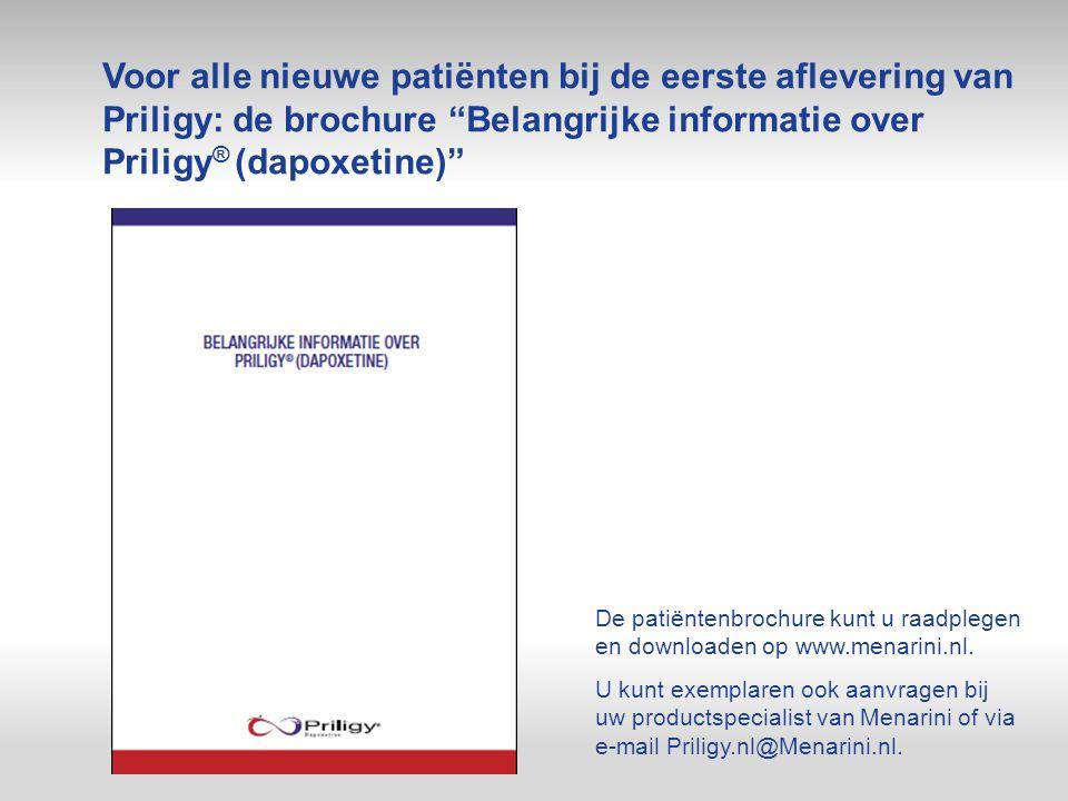 Voor alle nieuwe patiënten bij de eerste aflevering van Priligy: de brochure Belangrijke informatie over Priligy® (dapoxetine)