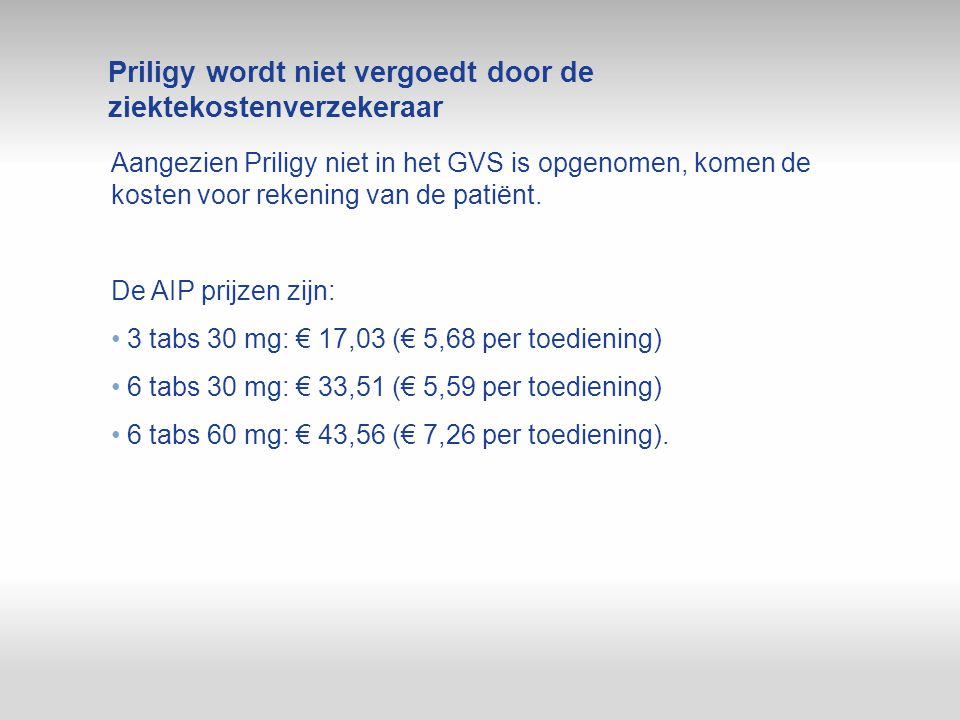 Priligy wordt niet vergoedt door de ziektekostenverzekeraar