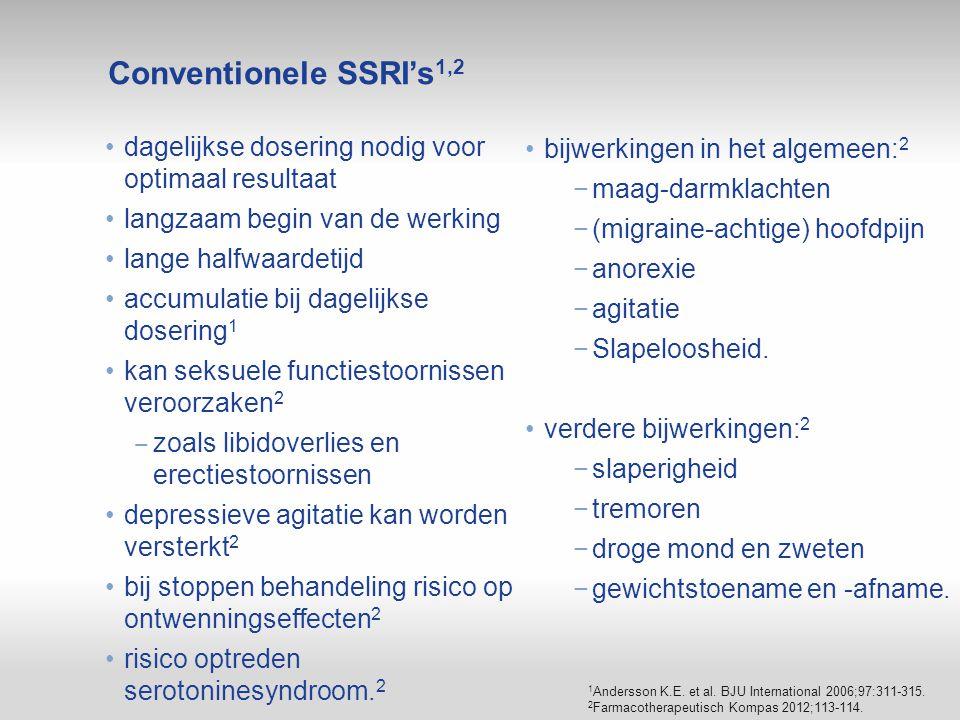 Conventionele SSRI's1,2 dagelijkse dosering nodig voor optimaal resultaat. langzaam begin van de werking.