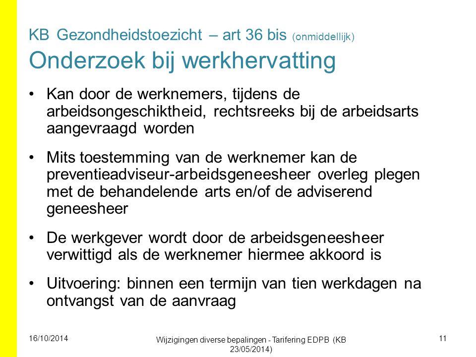 Wijzigingen diverse bepalingen - Tarifering EDPB (KB 23/05/2014)