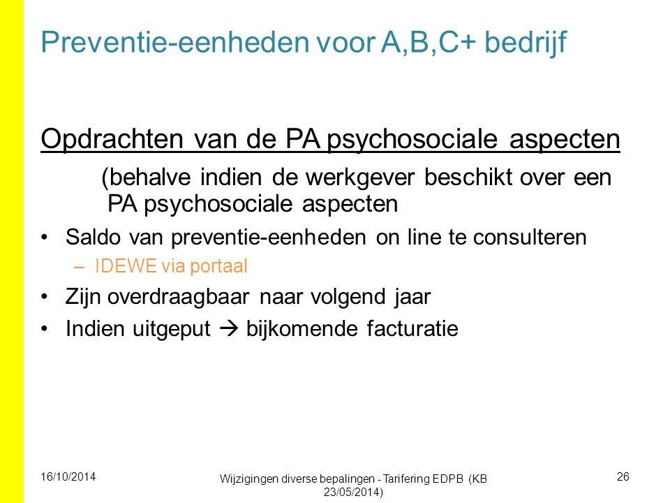 Preventie-eenheden voor A,B,C+ bedrijf