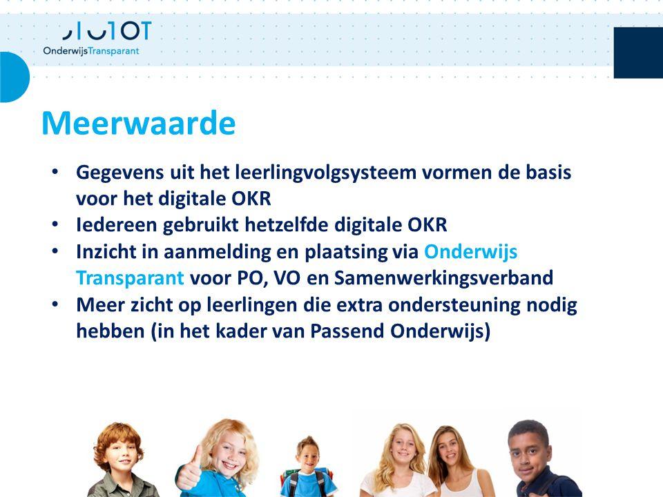 Meerwaarde Gegevens uit het leerlingvolgsysteem vormen de basis voor het digitale OKR. Iedereen gebruikt hetzelfde digitale OKR.