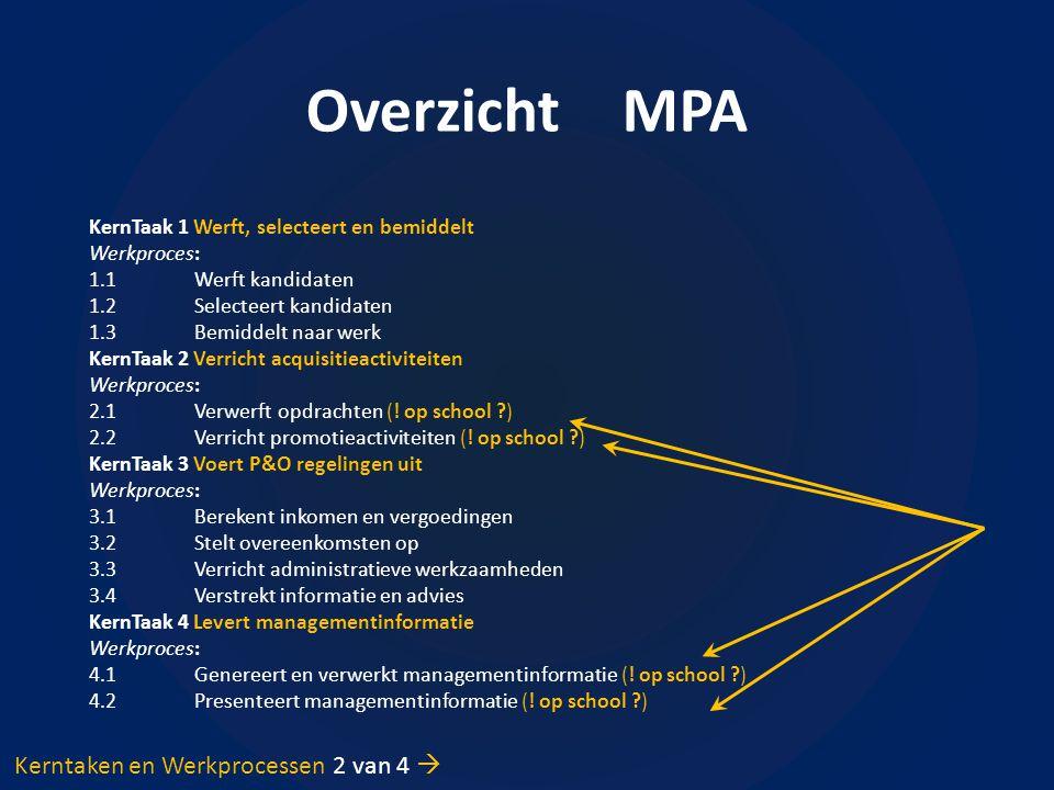 Overzicht MPA Kerntaken en Werkprocessen 2 van 4 