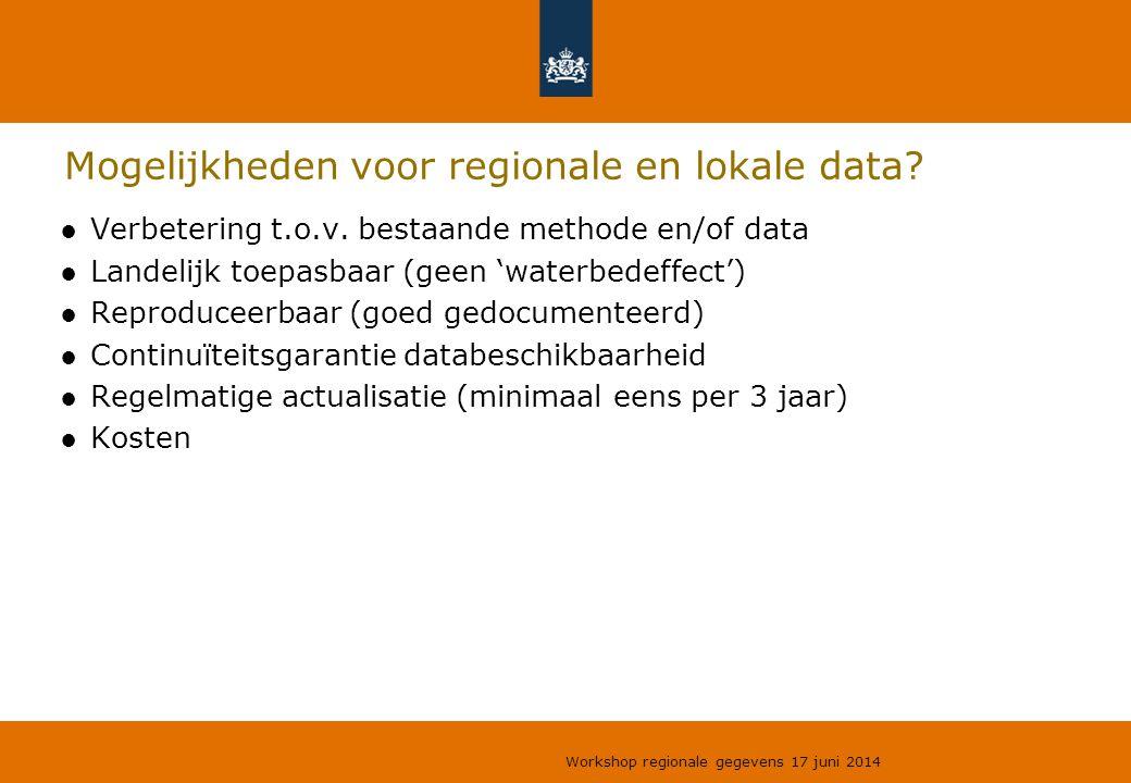 Mogelijkheden voor regionale en lokale data