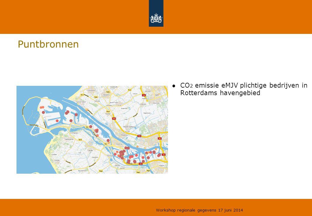 Puntbronnen CO2 emissie eMJV plichtige bedrijven in Rotterdams havengebied.