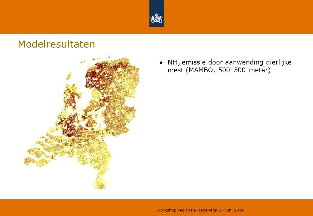 Modelresultaten NH3 emissie door aanwending dierlijke mest (MAMBO, 500*500 meter) Workshop regionale gegevens 17 juni 2014.