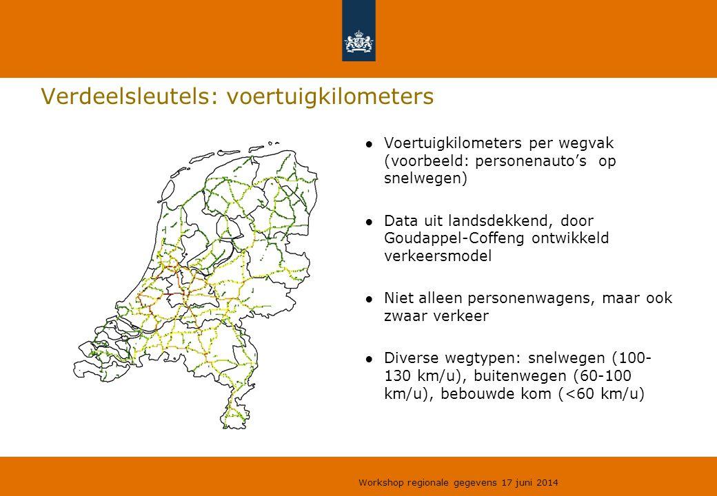 Verdeelsleutels: voertuigkilometers