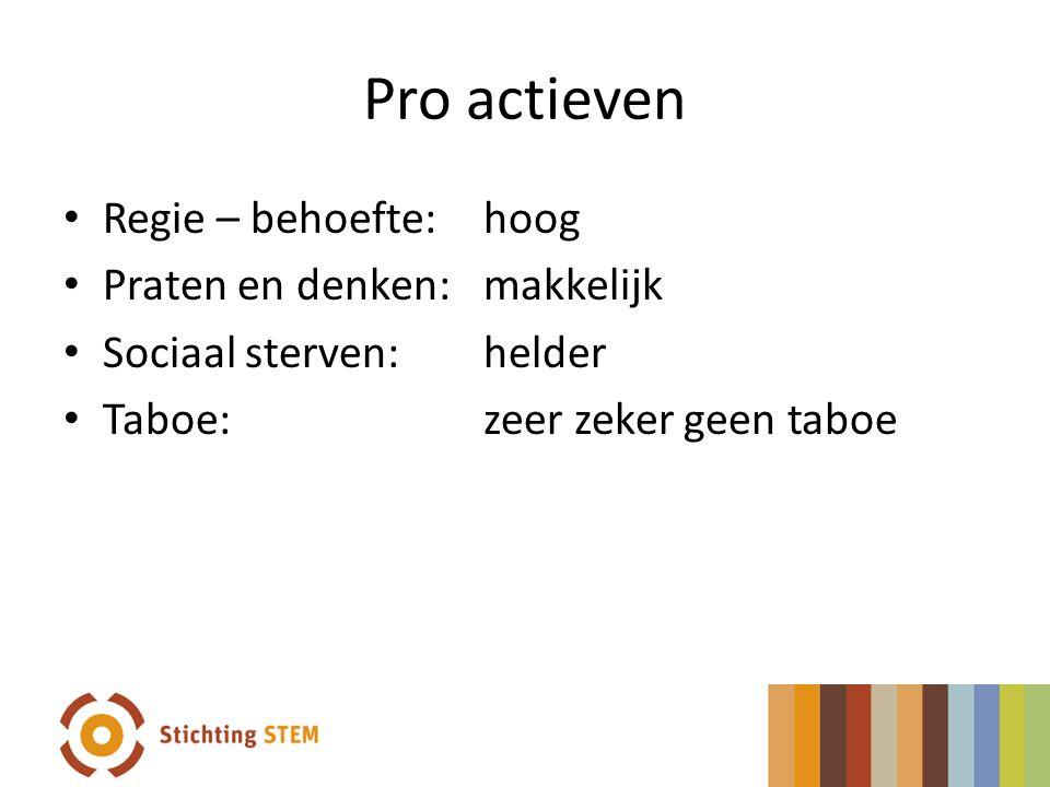 Pro actieven Regie – behoefte: hoog Praten en denken: makkelijk