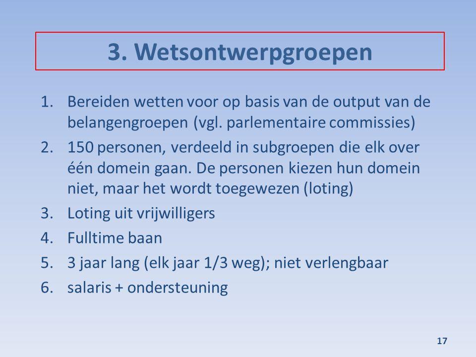 3. Wetsontwerpgroepen Bereiden wetten voor op basis van de output van de belangengroepen (vgl. parlementaire commissies)