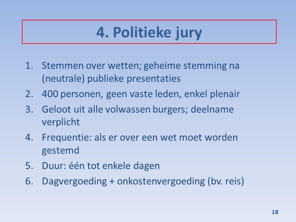 4. Politieke jury Stemmen over wetten; geheime stemming na (neutrale) publieke presentaties. 400 personen, geen vaste leden, enkel plenair.