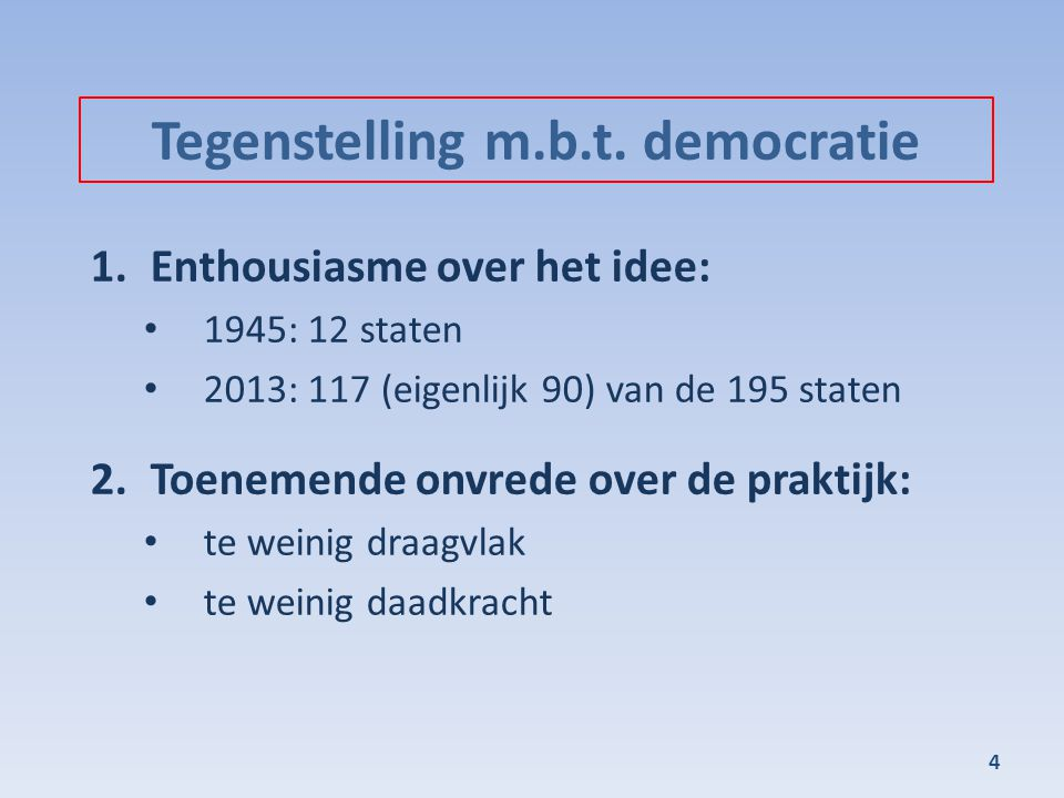 Tegenstelling m.b.t. democratie