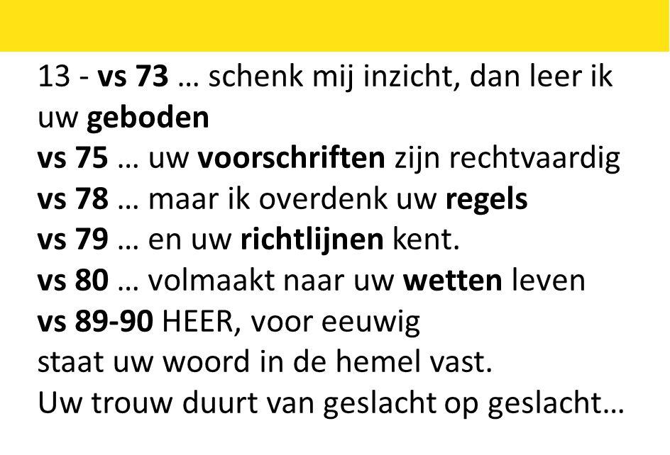 13 - vs 73 … schenk mij inzicht, dan leer ik uw geboden vs 75 … uw voorschriften zijn rechtvaardig vs 78 … maar ik overdenk uw regels vs 79 … en uw richtlijnen kent.
