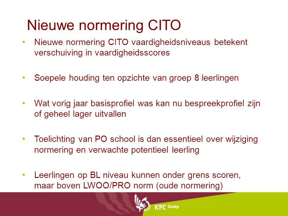 Nieuwe normering CITO Nieuwe normering CITO vaardigheidsniveaus betekent verschuiving in vaardigheidsscores.