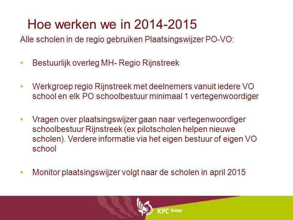 Hoe werken we in 2014-2015 Alle scholen in de regio gebruiken Plaatsingswijzer PO-VO: Bestuurlijk overleg MH- Regio Rijnstreek.