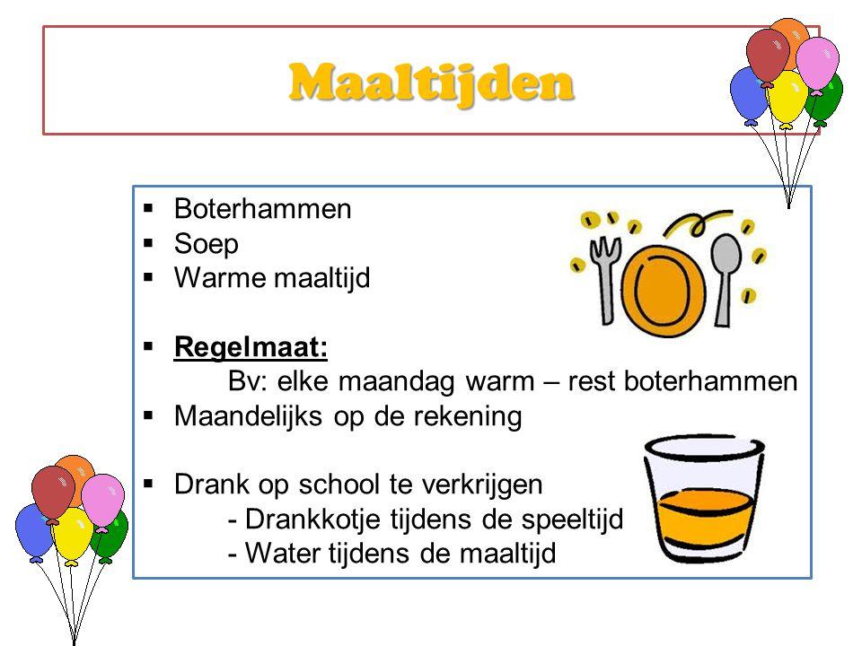 Maaltijden Boterhammen Soep Warme maaltijd Regelmaat:
