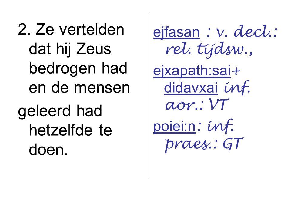 2. Ze vertelden dat hij Zeus bedrogen had en de mensen