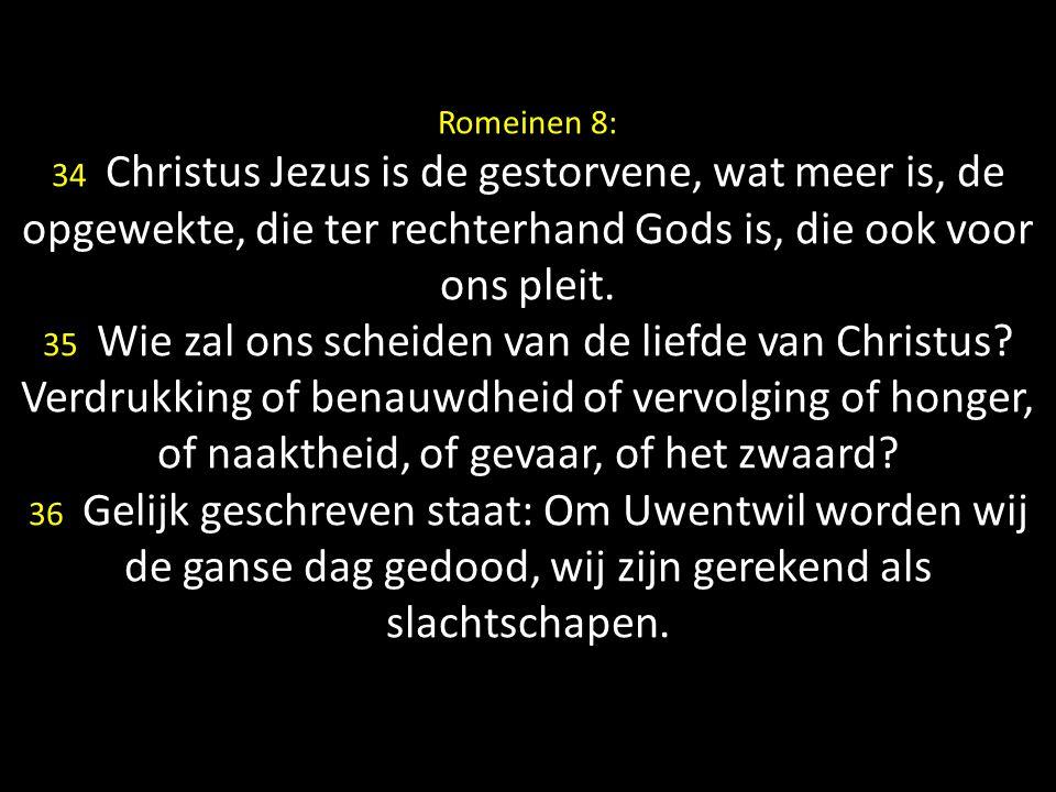Romeinen 8: 34 Christus Jezus is de gestorvene, wat meer is, de opgewekte, die ter rechterhand Gods is, die ook voor ons pleit.