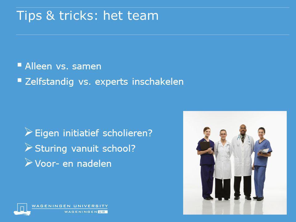 Tips & tricks: het team Alleen vs. samen