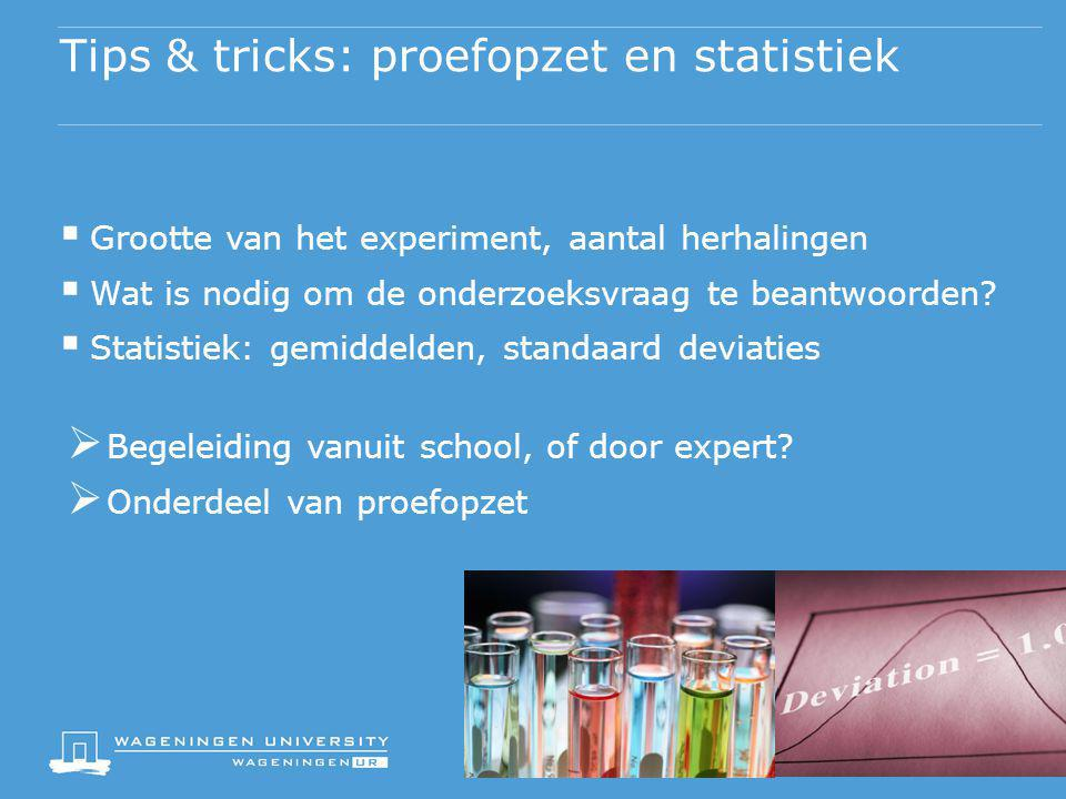 Tips & tricks: proefopzet en statistiek