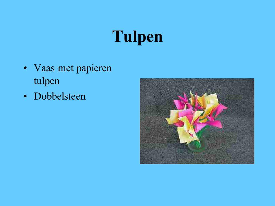 Tulpen Vaas met papieren tulpen Dobbelsteen