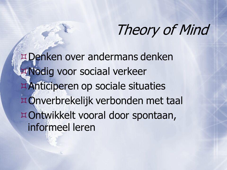 Theory of Mind Denken over andermans denken Nodig voor sociaal verkeer