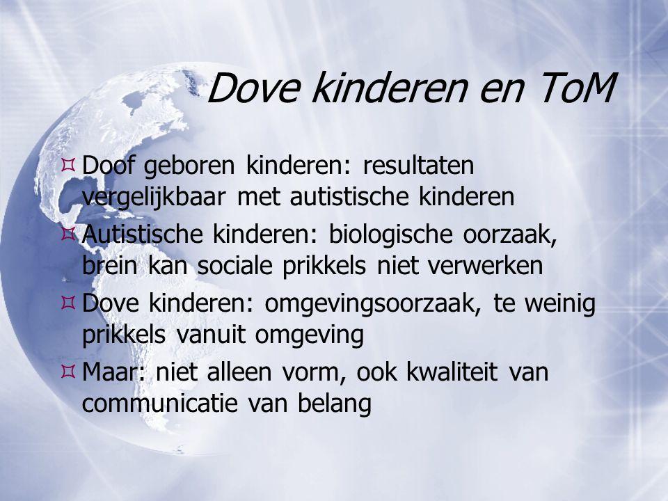 Dove kinderen en ToM Doof geboren kinderen: resultaten vergelijkbaar met autistische kinderen.