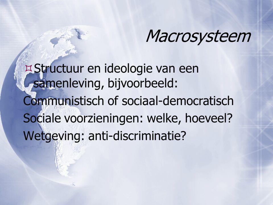 Macrosysteem Structuur en ideologie van een samenleving, bijvoorbeeld: