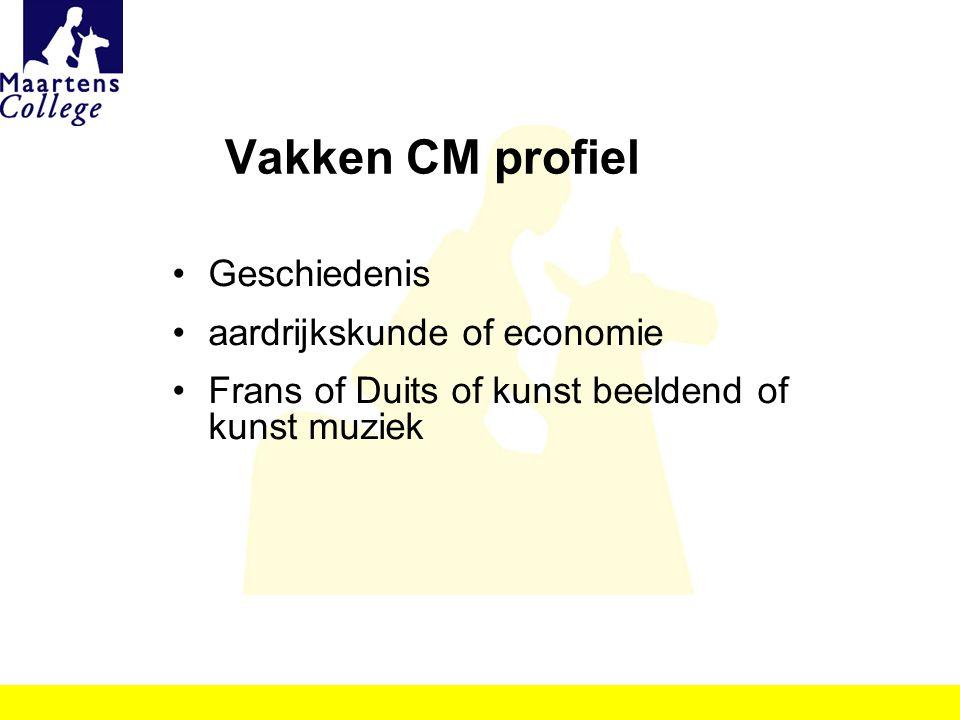 Vakken CM profiel Geschiedenis aardrijkskunde of economie