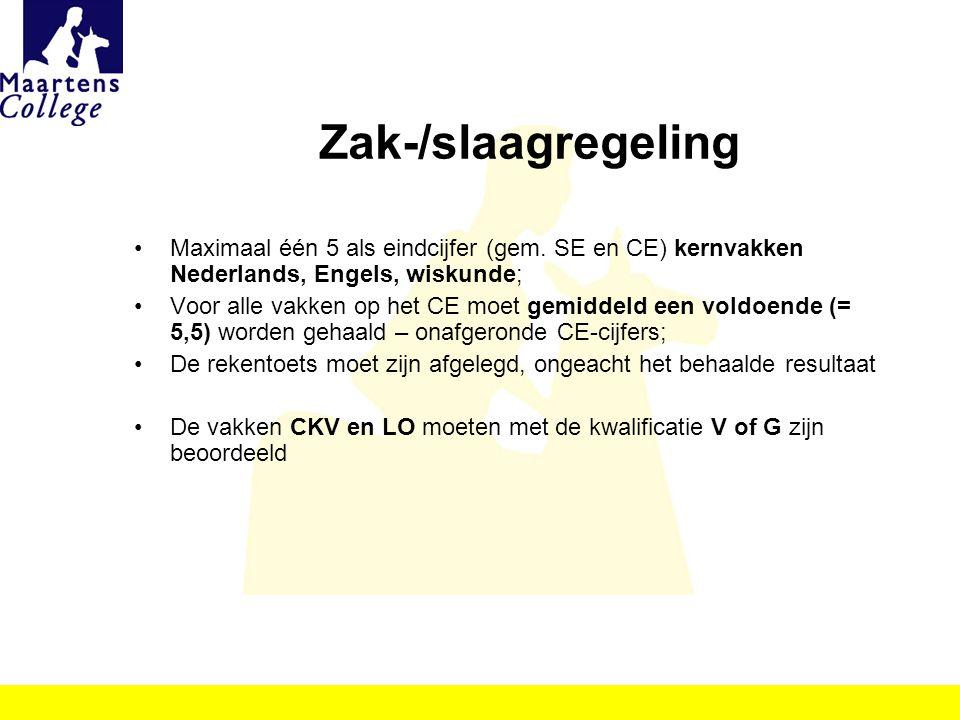 Zak-/slaagregeling Maximaal één 5 als eindcijfer (gem. SE en CE) kernvakken Nederlands, Engels, wiskunde;