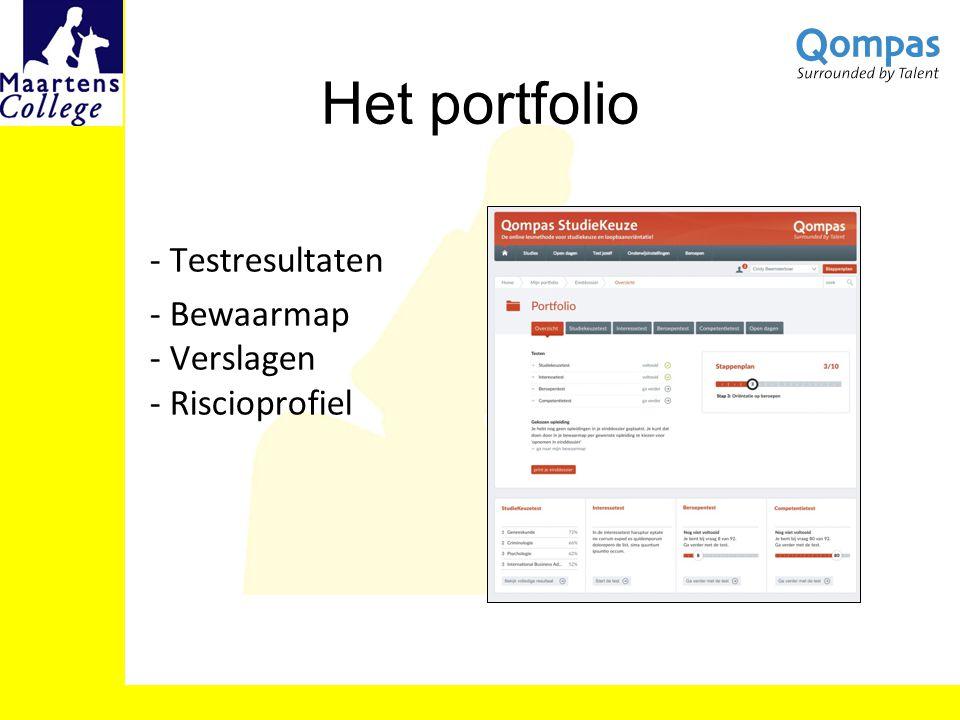 - Testresultaten - Bewaarmap - Verslagen - Riscioprofiel