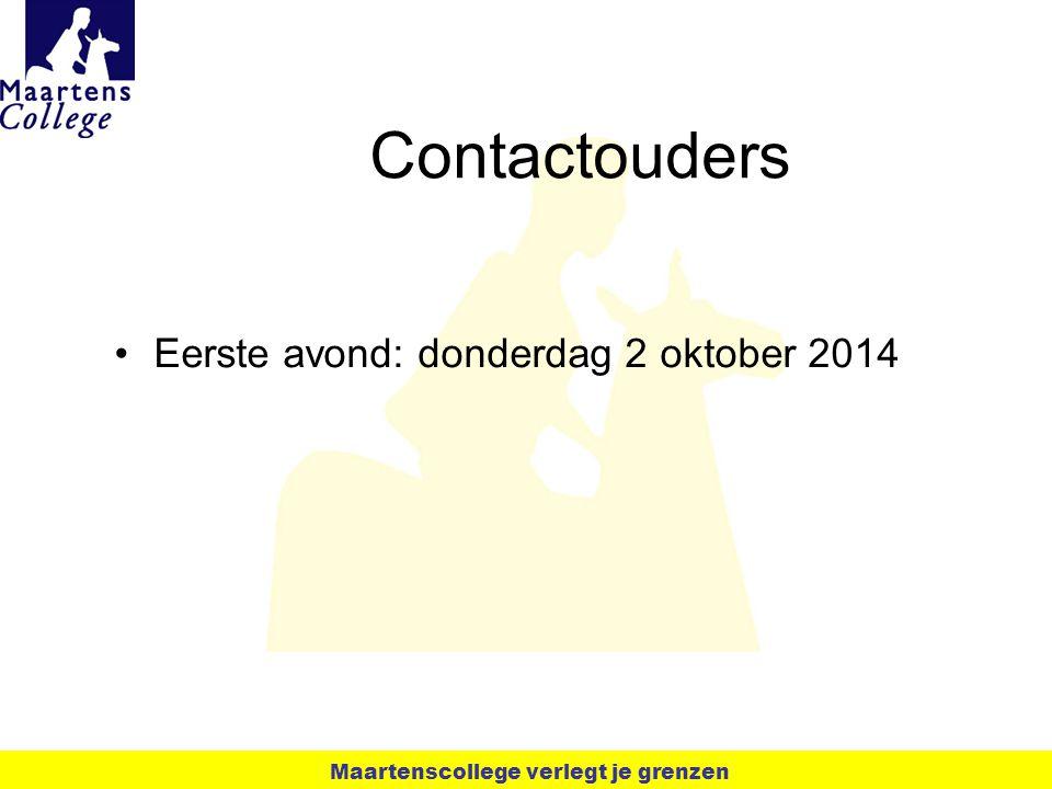 Contactouders Eerste avond: donderdag 2 oktober 2014