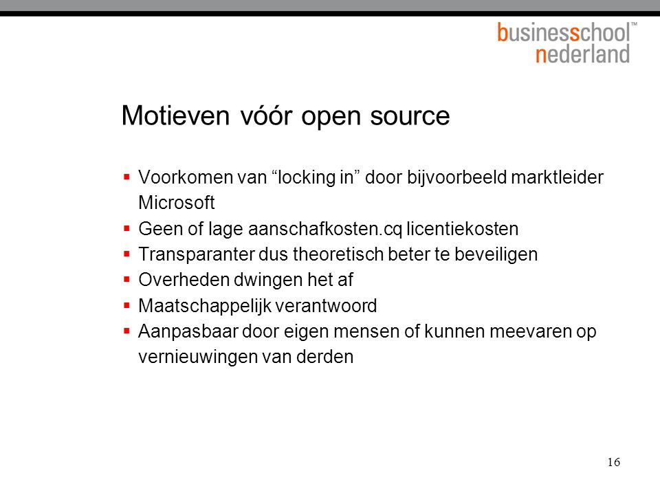 Motieven vóór open source