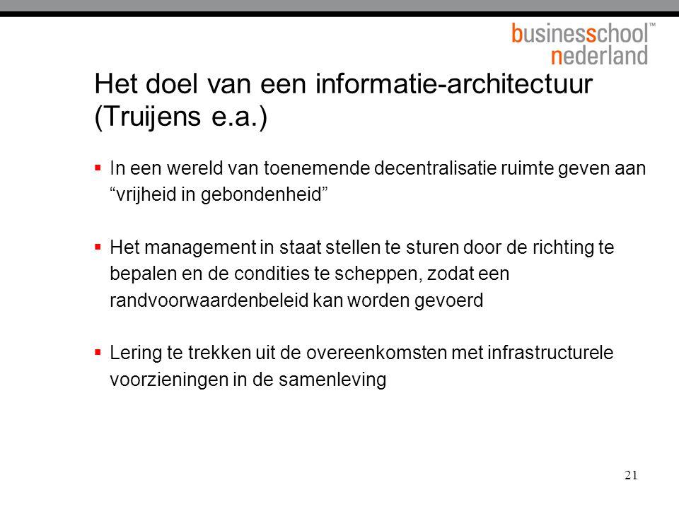 Het doel van een informatie-architectuur (Truijens e.a.)