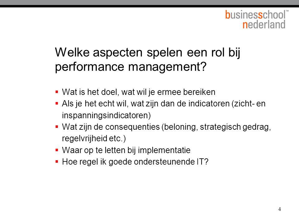 Welke aspecten spelen een rol bij performance management