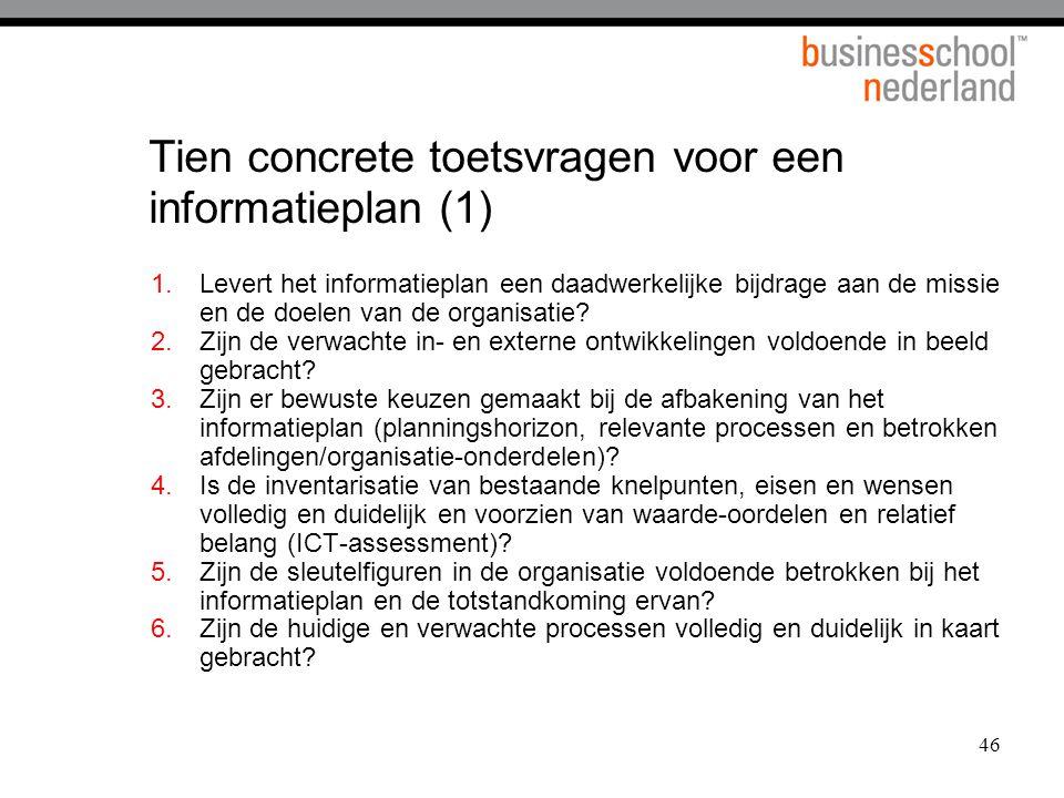 Tien concrete toetsvragen voor een informatieplan (1)