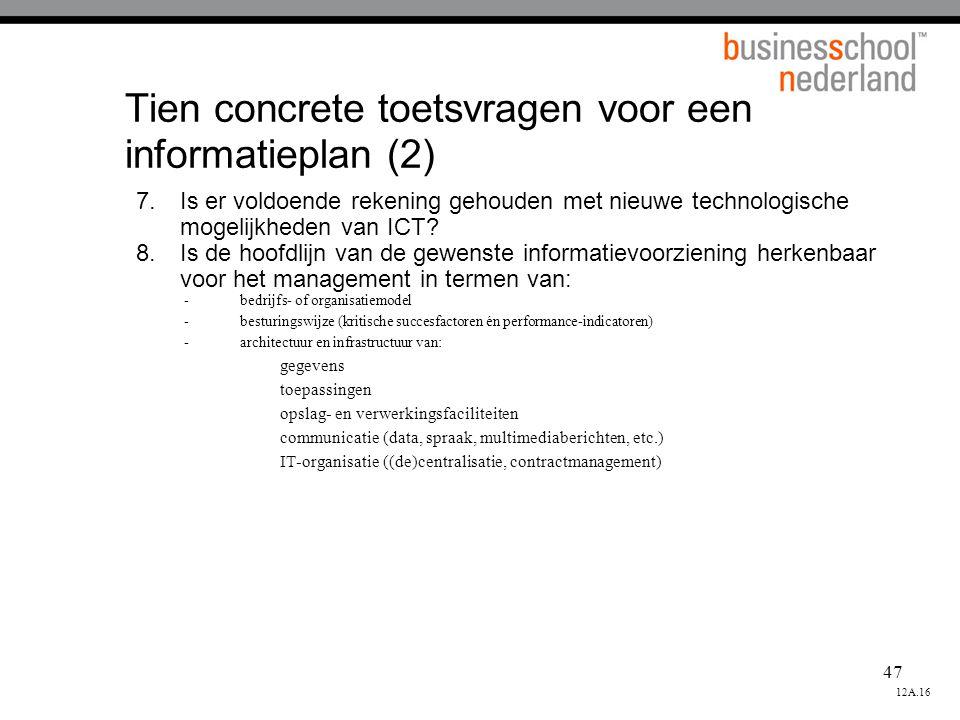 Tien concrete toetsvragen voor een informatieplan (2)