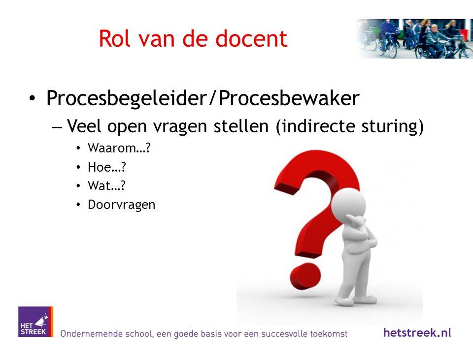 Rol van de docent Procesbegeleider/Procesbewaker