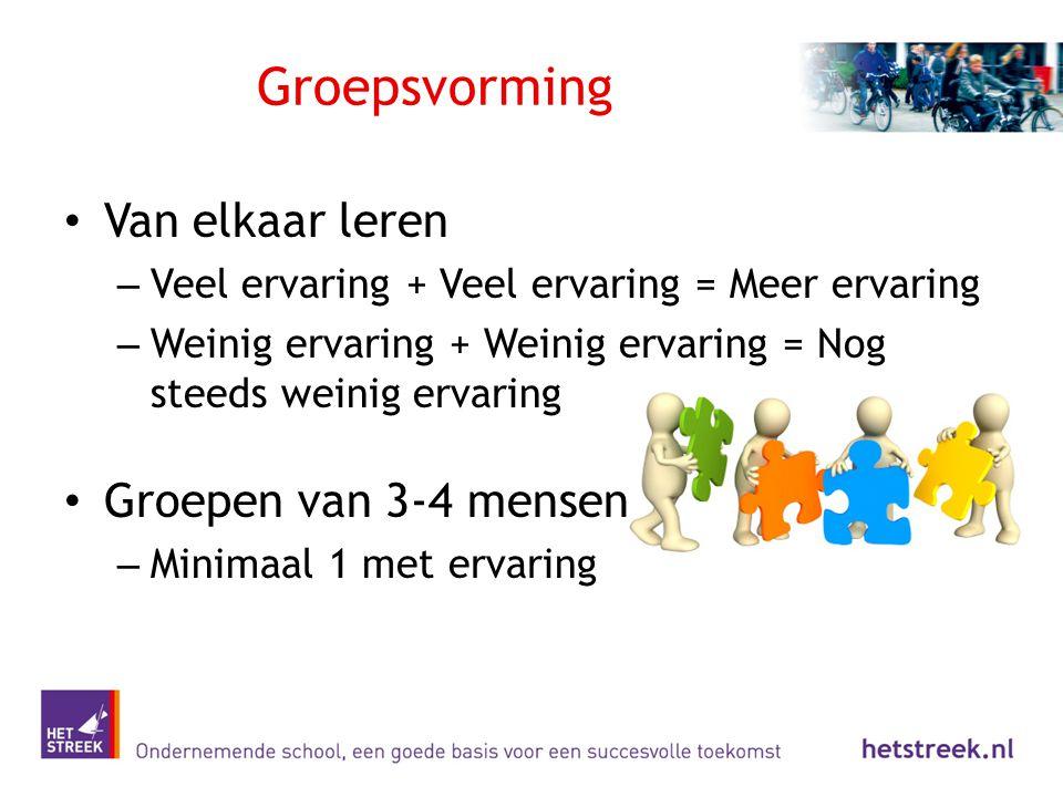 Groepsvorming Van elkaar leren Groepen van 3-4 mensen