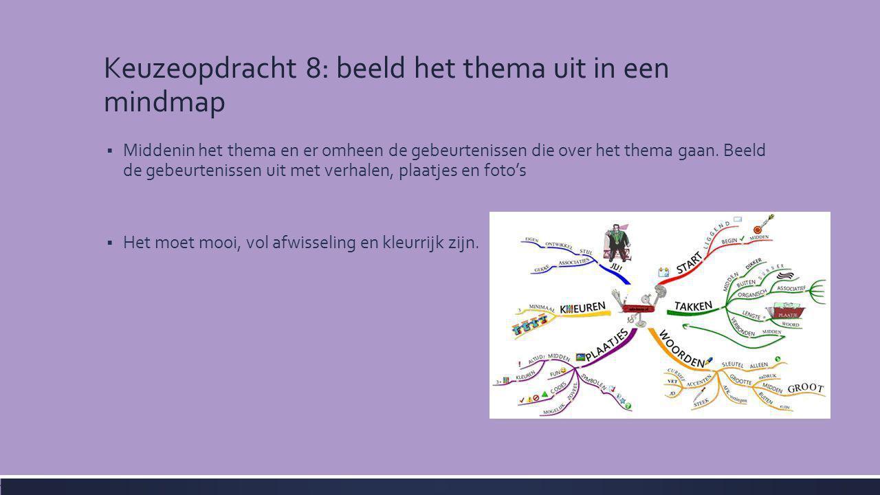 Keuzeopdracht 8: beeld het thema uit in een mindmap